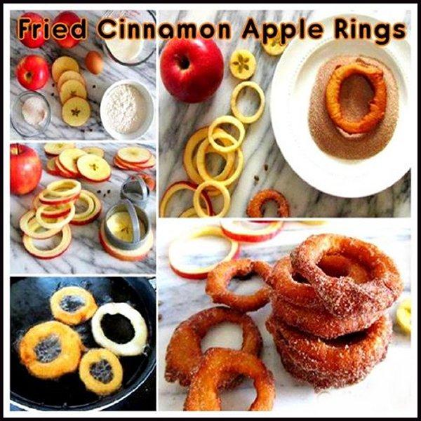 Fried cinnamon apple rings recipe