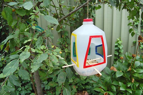 Milk jugs for birdfeeder