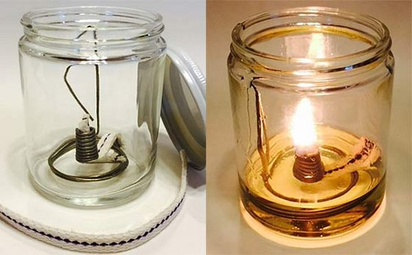 Olive or vegetable oil lamp
