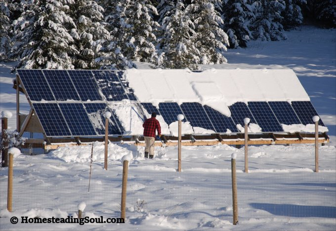 Solar panel cleaning in the winter